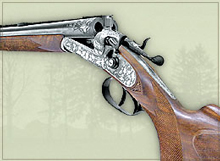Hammer double-barrelled rifle with oakleaf engraving