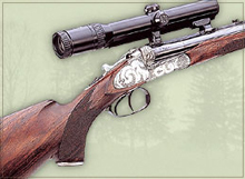 Large-calibre double-barrelled rifle with sideplates